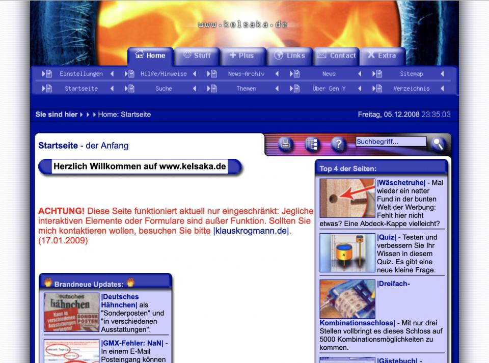 Screenshot der Archivseite von kelsaka.de